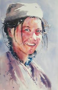 Femme au calot gris (d'après photo Christophe Boisvieux)
