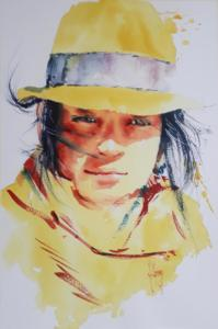 Jeune femme au chapeau jaune