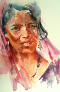 Femme au voile rose