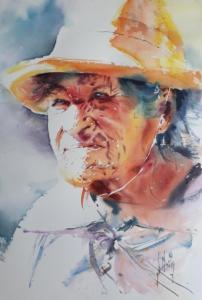 Vieille femme au chapeau jaune