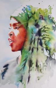 Femme au foulard vert et bleu
