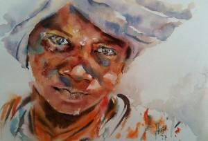 Jeune Africain au turban gris