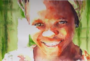 Jeune fille sur fond vert
