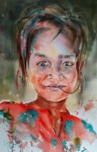 Jeune fille à la chemise rouge